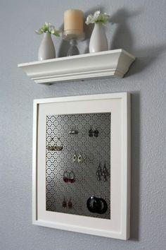 Radiator Grate Earring Holder -- I also love the shelf of molding.