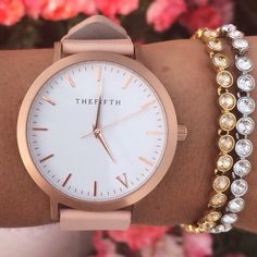 "Montre ""The Fifth"" couleur Rose Gold & Peach / 99€ http://www.thefifthwatches.com/products/rose-gold-peach"