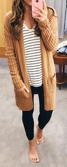 #winter #outfits brown cardigan