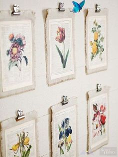 Unexpected Ways to Decorate with Vintage Artwork  <br> Say good-bye to bare walls. With the help of pretty posters, world maps, fabulous botanical prints, and more, you can display vintage wall art in every room. Art Diy, Diy Wall Art, Diy Wall Decor, Wall Decorations, Art Decor, Diy Artwork, Bedroom Decor, Bedroom Ideas, Diy Home Decor
