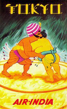 Tokyo, Japan - Air India vintage travel poster  Sumo wrestlers