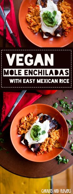 The BEST Vegan Enchiladas   Mole Enchiladas with Easy Mexican Rice   Family Dinner Recipe   Vegetarian Mole Recipe, Vegan Mexican Recipes, Vegan Dinner Recipes, Vegan Dinners, Vegan Recipes Easy, Veggie Recipes, Burrito Recipes, Vegan Recepies, Vegetarian Meals