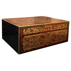 A Antique Boulle Box With Inlaid Brass And Tortoise Shell