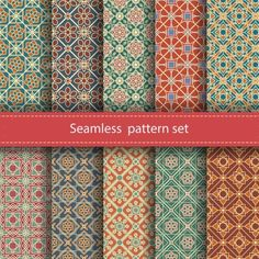 Vector set of 10 seamless mosaic patterns. Arabic tile texture with geometric ornament. Decorative and design elements for textile