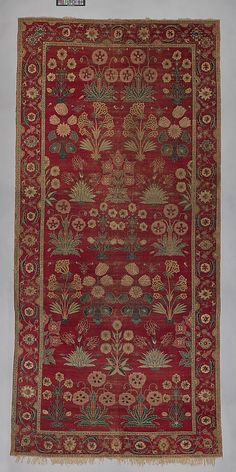 Carpet with Irises, Tulips, and Other Flowering Plants, ca. 1650. India or present-day Pakistan, Kashmir or Lahore. The Metropolitan Museum of Art, New York. Purchase, Florance Waterbury Bequest and Rogers Fund, 1970 (1970.321) #iris #flower