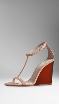 Burberry Suede Wedge Sandals
