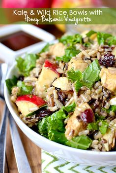 Gluten-free Kale and Wild Rice Bowls with Honey-Balsamic Vinaigrette combines wild rice and fresh kale with apples, dried cranberries, sliced almonds and chevre tossed with a sweet-tart Honey-Balsamic Vinaigrette. | iowagirleats.com