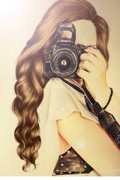 Girl Photographer, drawing / ragazza fotografa, disegno -Art by Kristina Webb Kristina Webb Drawings, Kristina Webb Art, Amazing Drawings, Beautiful Drawings, Cute Drawings, Amazing Artwork, Pretty Drawings Of Girls, Girly M, How To Draw Hair