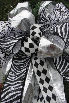 Black White Christmas Tree Top Bow/Zebra Burlap /Diamond Silver Ribbon  Wreath Bow/New Years Decoration