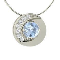 Round Aquamarine Necklace in 14k White Gold with VS Diamond