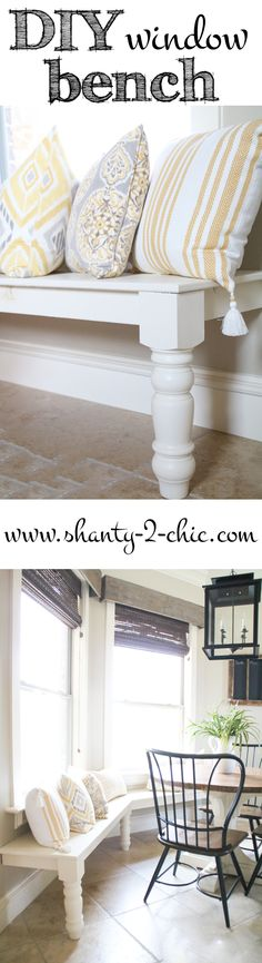 DIY Window Seat Bench! Perfect for a kitchen nook and and easy modification to customize for any space! Get the free plans and how-to instruction at www.shanty-2-chic.com