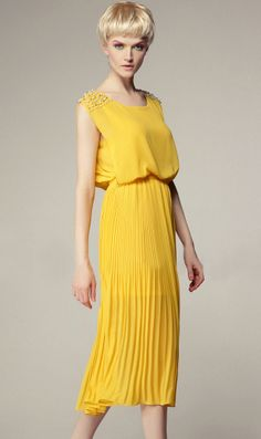 #SheInside Yellow Sleeveless Bead Shoulder Pleated Chiffon Dress