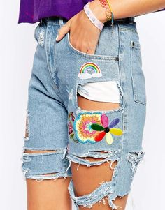 Image 1 of The Ragged Priest Boyfriend Denim Shorts With Rips & Festival Flower Emeblishments