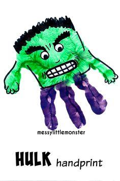 Messy Little Monster: Hulk superhero handprint craft