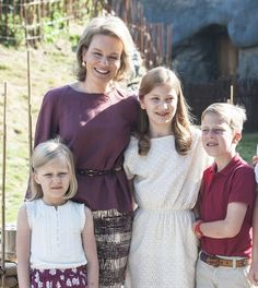 Queen Mathilde of Belgium and 3 of her children at the zoo July 11, 2015: Princess Elisabeth, Prince Emmanuel and Princess Eleonore