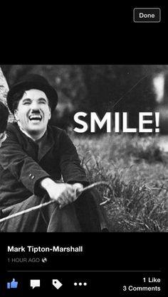 Charlie Chaplin smiles