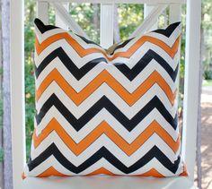 Halloween Pillow - Orange Black Zig Zag Chevron