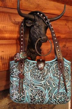 Tooled turquoise purse