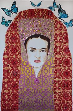 Ashley Longshore - Frida In Headdress With Blue Monarchs