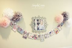Simply Ciani: Once upon a time... Birthday Party - Winter ONEderland 1st Birthday - Photo Banner - DIY Banner - Tissue Poms