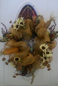 New Fall Deco Mesh Wreath.  So easy and inexpensive to make.