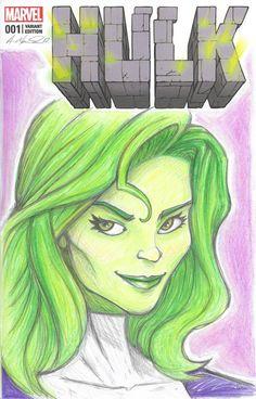 Hulk Sketch Cover She-Hulk by MarshStore on Etsy