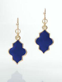 Fleur-De-Lis Earrings in Dark Sapphire