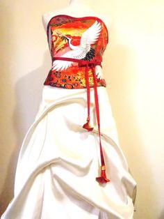 KIMONO dress made with vintage wedding KIMONO red by Shantique