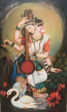 Dance Paintings, Indian Art Paintings, Modern Art Paintings, Saraswati Goddess, Goddess Art, Durga, Shiva Art, Krishna Art, Lord Shiva Painting