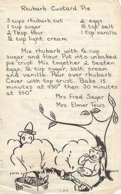 Rhubarb Custard Pie - Recipe from 1950's Wisconsin Church Cookbook