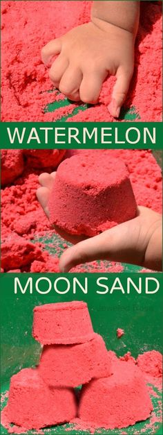 Watermelon Moon Sand Recipe- If you are unfamiliar with moon sand it is truly amazing stuff. It is mold-able but crumbly and produces the best sandcastles. It is really easy to make at home, too.