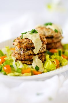 Cauliflower Quinoa Fritters with Chive Tahini Sauce - Wendy Polisi.com