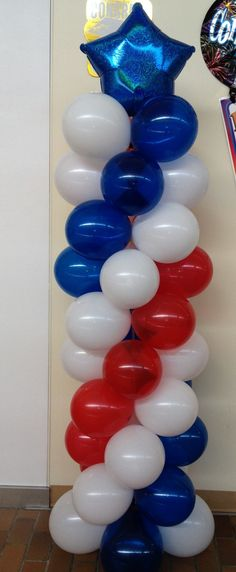 6' Red White and Blue spiral column $28.99 Made by Grins n Giggles Clarion Mall  Clarion, Pa Captain America Party, Captain America Birthday, Balloon Columns, Balloon Arch, Balloon Centerpieces, Balloon Decorations, Superhero Birthday Party, Birthday Parties, Party Ballons