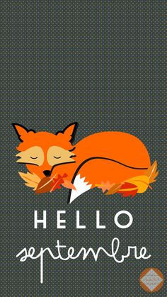 Hello September Autumn Fox iPhone Lock Wallpaper @PanPins