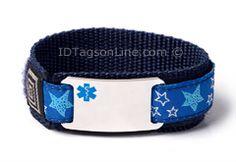 "Sport Medical ID Bracelet with Blue Emblem. Size 6.5"" Max."
