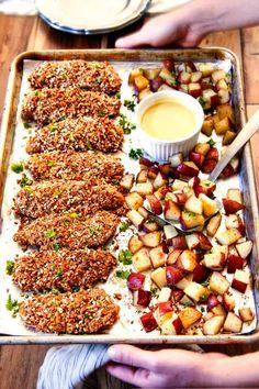This Sheet Pan Honey Mustard Pretzel Chicken & Potatoes is one of our favs! The juicy chicken is irresistibly crunchy, the potatoes melt-in-your-mouth and the Honey Mustard Sauce is perfection! New Recipes, Dinner Recipes, Cooking Recipes, Healthy Recipes, Recipies, Healthy Nutrition, Kitchen Recipes, Drink Recipes, Dinner Ideas