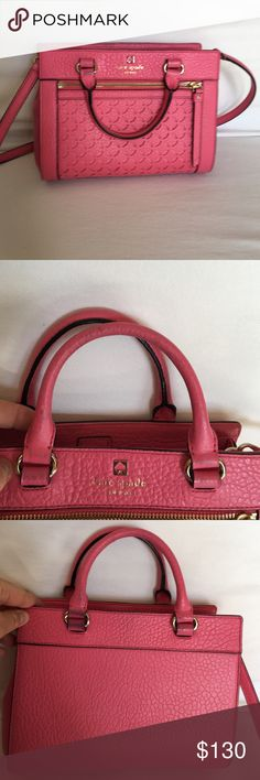 Kate spade hot pink cross body bag Kate spade hot pink cross body bag. Beautiful pink has been worn so has marks on but they're shown in the pictures. Please do not expect a new bag. Great bag for a great price. kate spade Bags Crossbody Bags