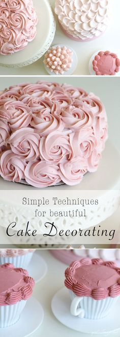 Learn these simple techniques for cake decorating! Use Tip 1M to pipe roses, Tip 1A to make pulled dots, and Tip 4B to pipe peaks or shell borders. - From thegirlinspired.com