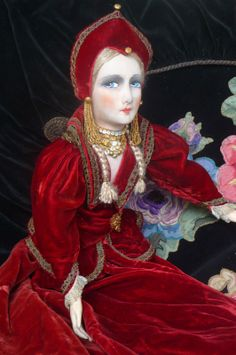 RARE Antique French Boudoir Doll in Russian Princess Doll C 1920