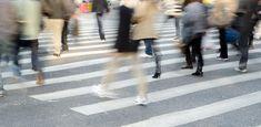 People crowd on zebra crossing. Busy city people crowd on zebra crossing street ,