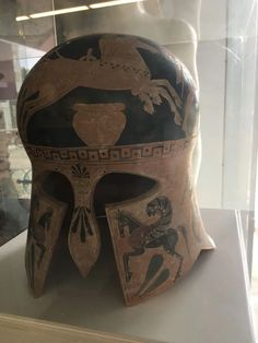 helmet, ceramic Greek museum replica made with the ancient technique the lost wax method - Hellas Art by SiloArtFactory Greek Antiquity, Recycled Art, Ancient Greece, Metal Working, Cowboy Boots, Helmet, Art Pieces, Sculptures, Wax