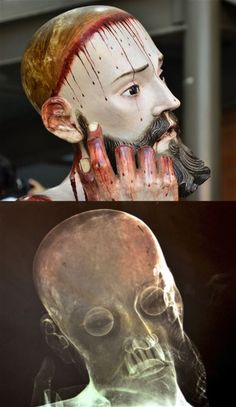 A creepy X-ray image taken of a statue of Jesus in Mexico has revealed that the 300-year-old figure contains real human teeth - and they are...