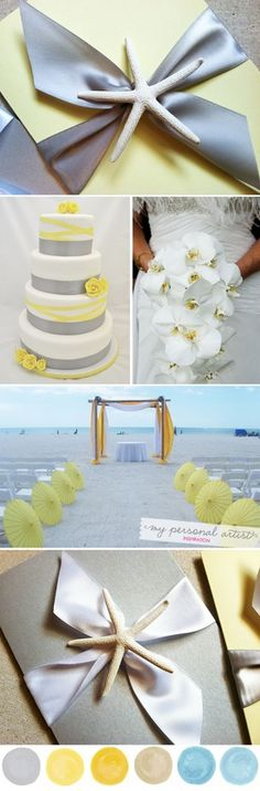 grey and yellow beach wedding. This is what I have been looking for!