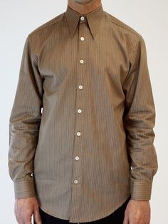 Brown and Cream Fine Stripe Spearpoint Shirt Vintage Groom, Vintage Men, 1920s Mens Clothing, Wedding Shirts, Wedding Attire, Vintage Outfits, Shirt Dress, Cream, Brown