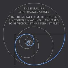 The spiral is a spiritualised circle. In the spiral form, the circle uncoiled, unwound has ceased to be vicious. It has been set free.