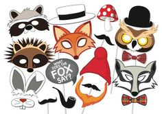 Woodland Party Photo booth Props Set - 18 Piece PRINTABLE - Fox, owl, badger, rabbit, gnome, mustache, masks, Baby shower Photobooth Props