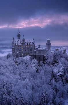 Castle Neuschwanstein by Carl T Loveall Beautiful Castles, Beautiful World, Beautiful Places, Winter Landscape, Landscape Photos, Nature Pictures, Cool Pictures, Adelaine Kane, Castle Painting
