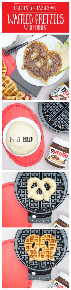 Enjoy a delicious twist on breakfast with this waffled pretzel with Nutella®. Roll pre-prepared pretzel dough into a long strip and twist it into your pretzel shape. Place it on your heated waffle iron. Bake 3-4 minutes or until your delicious waffled pretzel is golden brown. Spread with Nutella®.