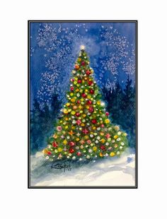 Lighting the Tree Watercolour painting by Ken Crawford