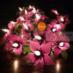 20 Purple String Lights Orchid Flower Fairy Lights Bedroom